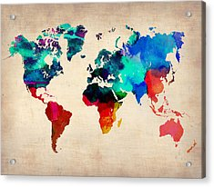 Watercolor World Map Acrylic Print by Naxart Studio