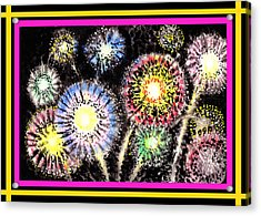 Watercolorful Fireworks Acrylic Print