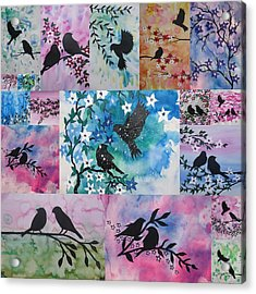 Watercolour Birds Acrylic Print by Cathy Jacobs