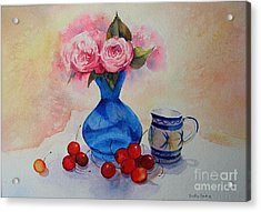 Acrylic Print featuring the painting Watercolour Roses And Cherries by Beatrice Cloake