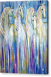 Waterfall Abstract Horses Acrylic Print by Jennifer Godshalk