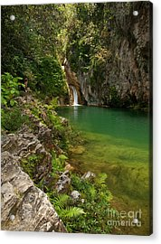 Waterfall And Pool Paradise - Cuba Acrylic Print by OUAP Photography