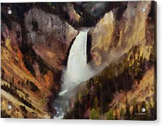 Acrylic Print featuring the painting Waterfall At Yellowstone National Park by Kai Saarto