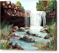 Acrylic Print featuring the painting Waterfall by Dorothy Maier