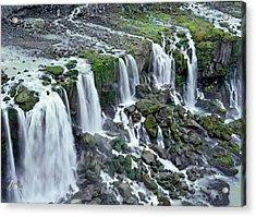 Waterfall In Iceland Acrylic Print by Birgir Freyr Birgisson