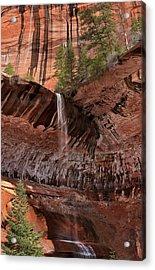 Waterfall In Kolob Canyons Acrylic Print by Leland D Howard