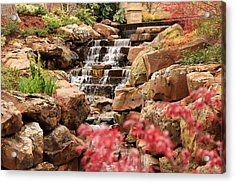 Acrylic Print featuring the photograph Waterfall In The Garden by Elizabeth Budd