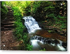 Waterfall Paradise With Stone Stairway Acrylic Print by Aaron Smith