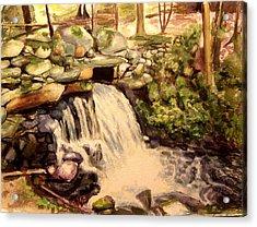 Waterfall Sharon Audubon 12x16 Acrylic Print by Nicolas Bouteneff