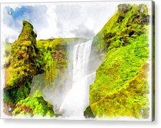 Waterfall Skogafoss Iceland Aquarell Painting Acrylic Print