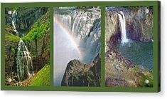 Waterfall Triptych Acrylic Print by Steve Ohlsen