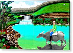 Acrylic Print featuring the painting Waterfalls And Man Riding A Carabao by Cyril Maza