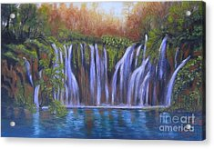 Acrylic Print featuring the painting Waterfalls - Plitvice Lakes by Vesna Martinjak