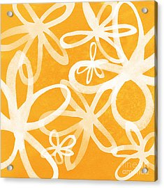Waterflowers- Orange And White Acrylic Print by Linda Woods