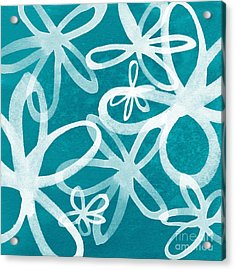 Waterflowers- Teal And White Acrylic Print by Linda Woods