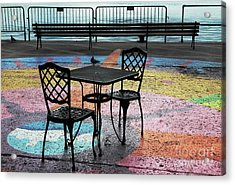 Waterfront Seating Acrylic Print by Charline Xia