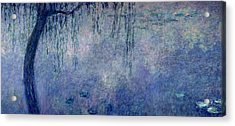 Waterlilies Two Weeping Willows Acrylic Print by Claude Monet