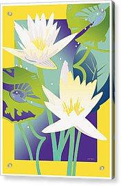 Waterlilies Yellow Border Acrylic Print
