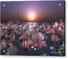 Acrylic Print featuring the digital art Waterlillies by Susanne Baumann