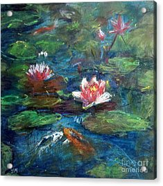 Acrylic Print featuring the painting Waterlily In Water by Jieming Wang