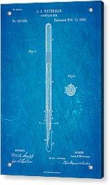 Waterman Fountain Pen Patent Art 1884 Blueprint Acrylic Print by Ian Monk