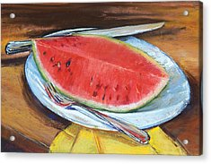 Watermelon Acrylic Print by Beverly Amundson
