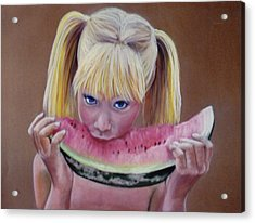 Watermelon Bite Acrylic Print by Colleen Gallo