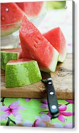 Watermelon, Cut Into Pieces, On A Wooden Board Acrylic Print