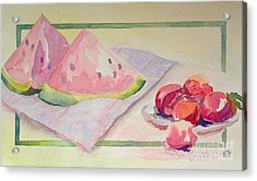 Watermelon Acrylic Print by Marilyn Zalatan