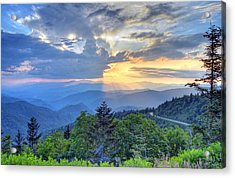 Waterrock Knob Sunset Acrylic Print by Mary Anne Baker