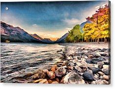 Waterton Lake In Autumn Colours Acrylic Print by Ron Harris
