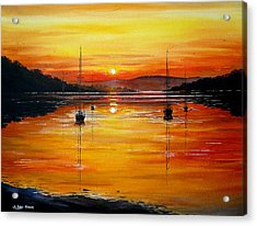 Watery Sunset At Bala Lake Acrylic Print by Andrew Read