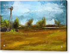 Watson Farm In Rhode Island - Old Windmill And Farming Art Acrylic Print by Lourry Legarde