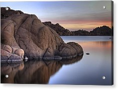 Watson Lake Arizona Colors Acrylic Print by Dave Dilli