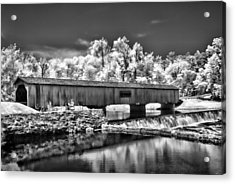 Watson Mill Covered Bridge In Infrared Acrylic Print by Linda Mcfarland