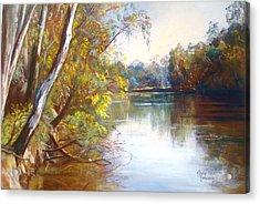 Wattle Time Goulburn River Acrylic Print by Lynda Robinson