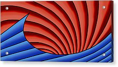 Acrylic Print featuring the digital art Wave - Blue And Red by Judi Quelland