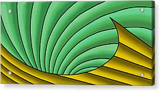 Acrylic Print featuring the digital art Wave  - Gold And Green by Judi Quelland