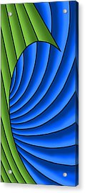 Acrylic Print featuring the digital art Wave - Green And Blue by Judi Quelland