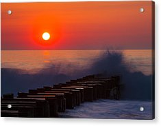 Breaking Wave At Sunrise Acrylic Print by Allan Levin