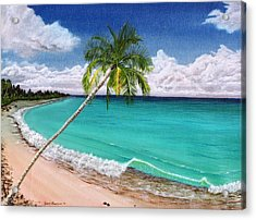 Acrylic Print featuring the painting Wave Break Beach by Kevin F Heuman