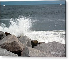 Wave Breaks On Rocks Acrylic Print by Tammy Wallace