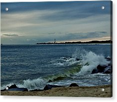 Acrylic Print featuring the photograph Wave Crashing At Cape May Cove by Ed Sweeney