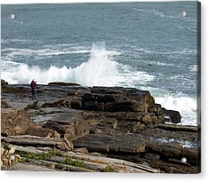 Wave Hitting Rock Acrylic Print by Catherine Gagne