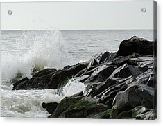 Wave On Rocks Acrylic Print