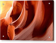 Wave Rock Forms - Upper Antelope Canyon Acrylic Print by Clay and Gill Ross