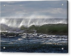 Wave With Wind Acrylic Print by Michael Bruce