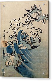 Waves And Birds Acrylic Print by Katsushika Hokusai