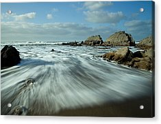 Waves At Blegberry Beach Acrylic Print by Pete Hemington