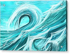 Waves Collision - Abstract Wave Paintings Acrylic Print by Lourry Legarde
